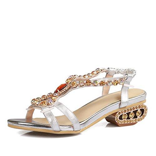 AgooLar Women's Soft Material Open Toe Low Heels Pull On Assorted Color Sandals Silver D8fMfaJ9