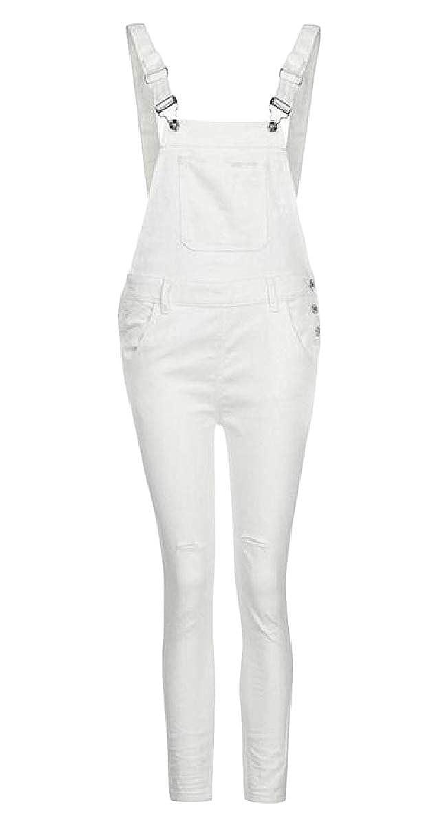 Zimaes-Women Slim Solid Button Pockets Destroyed Stylish Bib Overalls