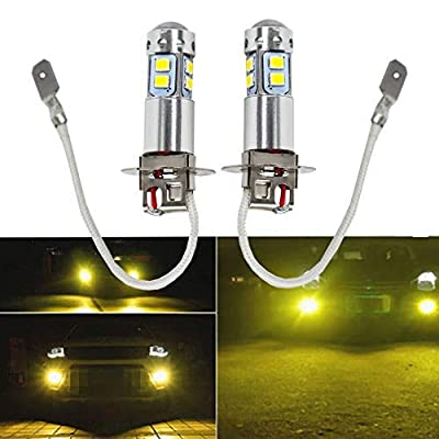 2 x H3 LED Fog Lights Bulbs 100W Extremely Bright 3000K Yellow Fog Light Lamp Bulb Driving Projector DRL Bulbs: Automotive