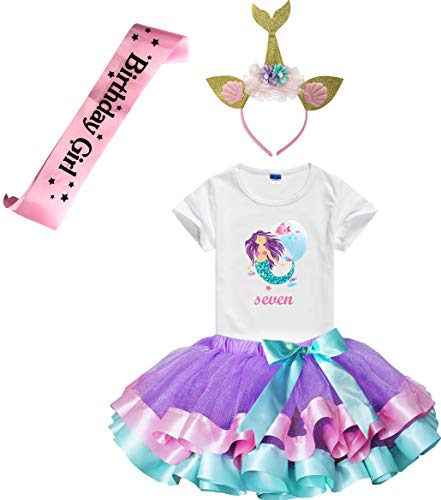 Charmbow Girls Lavender Tutu Dress with Mermaid Birthday Tshirt & Headband, 3-8 Years (Seven)