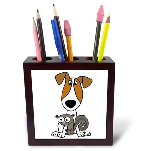 Jack Russell Terrier Tile - 3dRose All Smiles Art - Pets - Cute Funny Jack Russell Terrier Puppy Dog with Squirrel - 5 inch Tile Pen Holder (ph_291127_1)