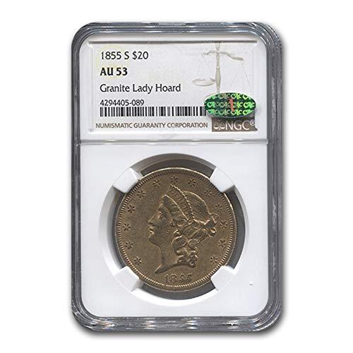 1855 S $20 Liberty Gold Double Eagle AU-53 NGC CAC G$20 AU-53 NGC
