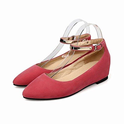 Carolbar Dames Gesp Enkelbandje Mode Grace Comfort Punt Teen Verborgen Hak Jurk Schoenen Perzik Rood