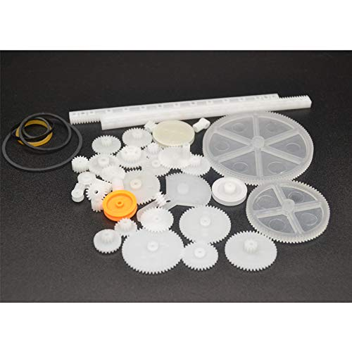 (Fevas 34Kinds Kits Plastic Gears Racks Shaft Gear Belt Pulley Single/Double Layer Gear)