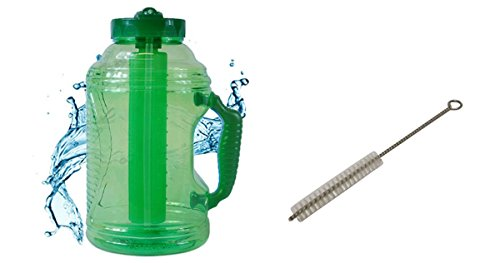 Cool Gear EZ Freeze 80 Ounce Water Bottle (Comes with FREE Straw Brush, Sport Drink Recipe, and Ebook) (Green)