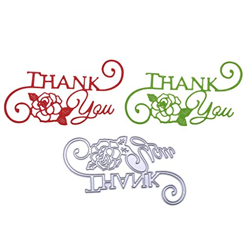 Seaskyer Thank You Metal Cutting Dies, Embossing Stencil Template for DIY Scrapbooking Album Paper Card Craft Gift Decoration,Template for Notebook, Diary, Scrapbook, Graffiti, Card Projects ()