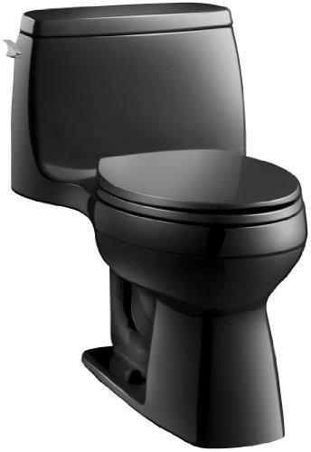 KOHLER 3810-7 Santa Rosa Comfort Height Elongated 1.28 GPF Toilet with AquaPiston Flush Technology and Left-Hand Trip Lever, Black Black