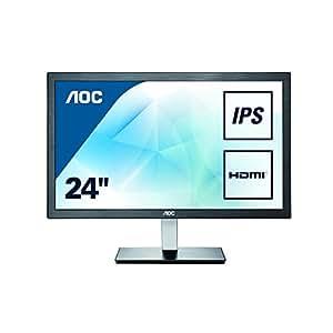 "AOC Monitores I2476VW - Monitor de 23.6"" (resolución 1920 x 1080 pixels, tecnología WLED, contraste 1000:1, 6 ms, VGA), color negro"
