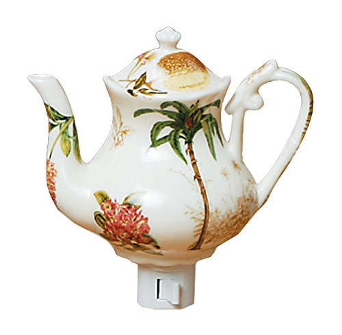 Green Pastures Wholesale Palm Tree Teapot Porcelain Night Light, 5-Inch by 4-Inch by 6-Inch