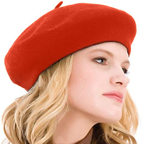 Kimming Womens Beret 100% Wool French Beret Solid Color Beanie Cap Hat Orange