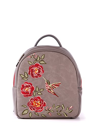 Alba Soboni Designed Women's Fashion PU Leather Bordo Embroidered Casual Backpack (grey)