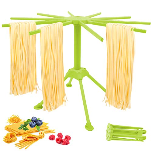 Pasta Drying Rack, Collapsible Pasta Rack with 10 Bar Handles, Quick Set-Up Drying Rack, Widely-Used Spaghetti Folding Drying Rack for Kitchen, Easy Storage Stand Pasta Dryer for Home Use(Green)