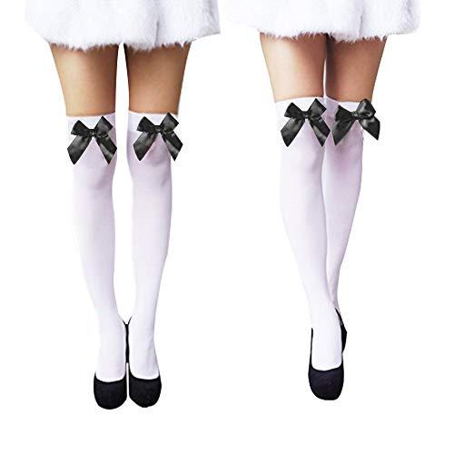 Women's Over Knee Thigh High Socks Sexy Velvet Hosiery Silk Stockings 2 Pairs for Christmas Accessories (White/Black) (Stocking Velvet White)