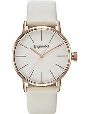 Gigandet MINIMALISM Montre bracelet quartz analogique pour femme en cuir bracelet or rouge blanc G43–012