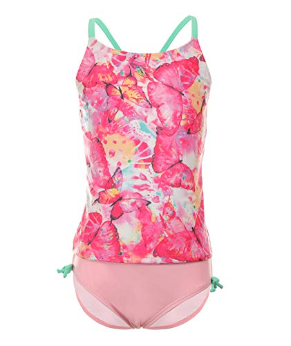 Girls Two Piece Swimsuits Cross Criss Tankini Bathing Suits Rosered Butterfies 10-12