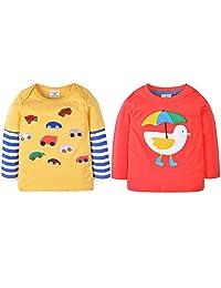 2 Pack Of Baby Girls Long Sleeve Cotton Crewneck Cartoon T-shirt Tops Blouse