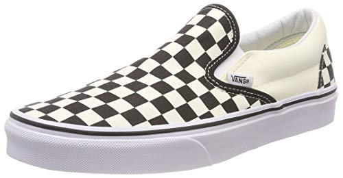 Vans Unisex Adults' Classic Slip On, Black And White Checker/White, 13 UK (Vans Cream Shoes)