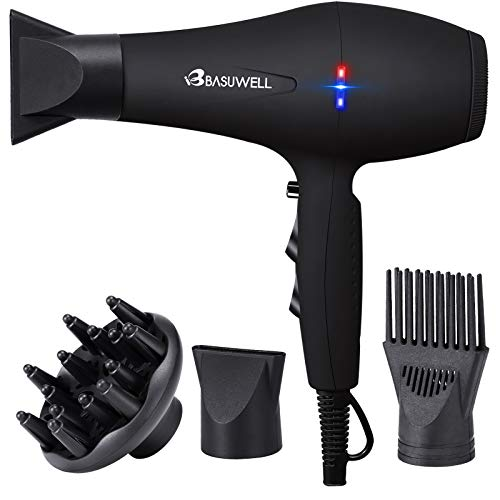 Basuwell 1875W Hair Dryer, Professional Ionic Salon Hair Blow Dryer for Faster Drying, 2 Speed 3 Heat Cool Shot Setting AC Motor Blow Dryer with Diffuser, Concentrator, Comb black