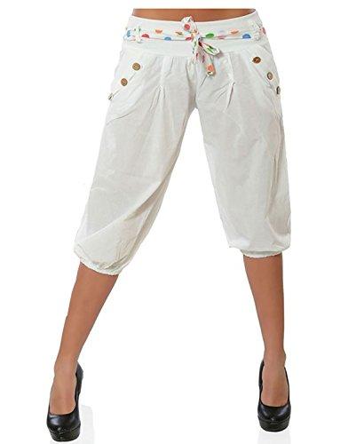 3 Pantaloni Tempo Aladin Bianca Da Pantaloncini Pantalone Harem Yoga Cropped Vdual Baggy Capri Donna Tagli ginocchio Bloomers Libero 4 Ax7YB5qYw