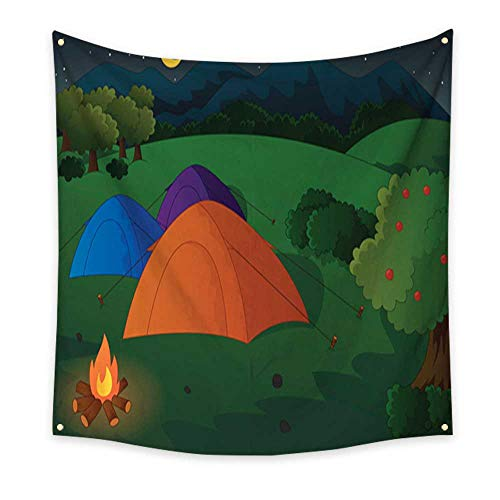Tapestry for Teen Girls Camping in The Meadow at Night Home Decorations 32W x 32L Inch from homehot
