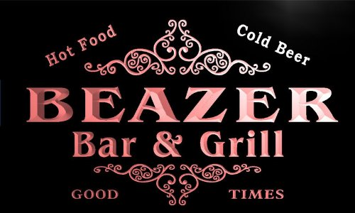 U02841 R Beazer Family Name Bar   Grill Cold Beer Neon Light Sign
