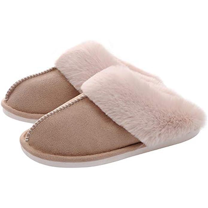 WATMAID Women's House Slippers Memory Foam Fluffy Soft Slippers, Slip on Winter Warm Shoes for Women