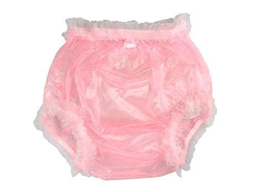 Haian Adult Incontinence Pull-on Plastic Pants Lace Panties Color Transparent Pink With White Lace (X-Large)