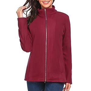 Zeagoo Women's Microfleece Jacket Long Sleeve Full-Zip Fleece Jacket Coat,Large,Wine Red