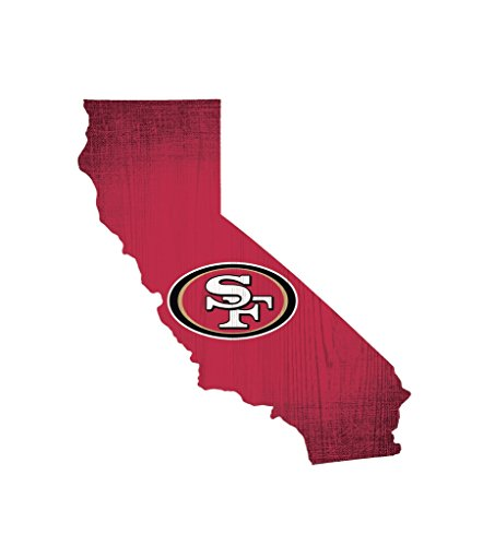 (San Francisco 49ers Wood Sign 12 Inch State Shape Design)