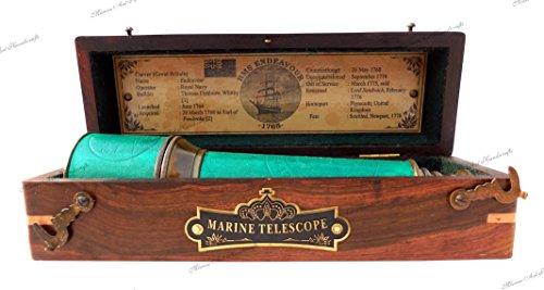 MAH 18 inch Brass Ship Captain Telescope/Brass Spyglass Hardwood Box. C-3111 by MAH