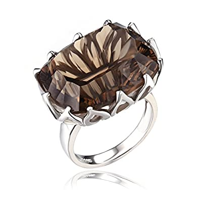 20ct Natural Gemstone Smoky Quartz cocktail Ring Concave 925 Sterling Silver