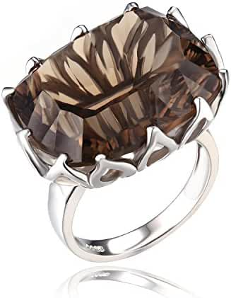 JewelryPalace 20ct Natural Smoky Quartz Cocktail Ring Concave 925 Sterling Silver