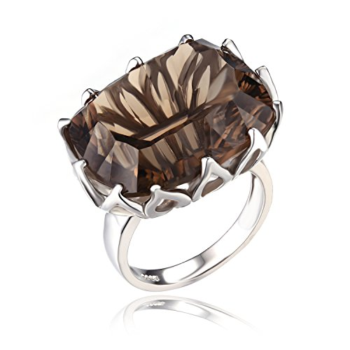 20ct Natural Gemstone Smoky Quartz Cocktail Ring Concave 925 Sterling Silver Size 6
