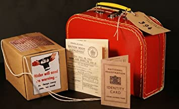 1940'S Evacuee-Wartime-Memorabilia WW2-Blitz Ration Book-Gas mask Box-ID  card-Luggage Label and Small Suitcase PERFECT FANCY DRESS ACCESSORY FOR WW2