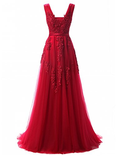 (Women's Plunging V-Neck Lace Illusion Bridal Prom Evening Dress (Burgundy,10))