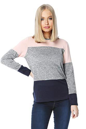 Roman Originals Women Colour Block Stripe Long Sleeve Top - Multi Coloured ()
