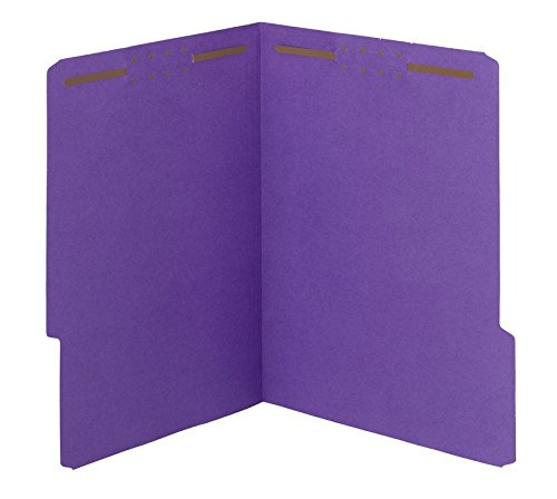 Fastener Folders Reinforced Tab Letter - Smead Watershed/CutLess Fastener File Folder, 2 Fasteners, Reinforced 1/3-Cut Tab, Letter Size, Purple, 50 per Box (12442)