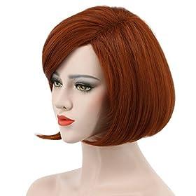 - 41IQUj9JgsL - Karlery Women's Short Bob Straight Dark Orange Wig Halloween Cosplay Wig Anime Costume Party Wig