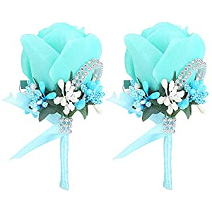 Febou Boutonniere 2PCS Wedding Boutonniere Handmade Rose Boutonniere Corsage with Pin and Clip for Groom Bridegroom Groomsman Perfect for Wedding, Prom, Party (2 Packs, Blue) 54
