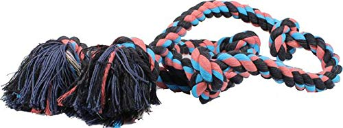 Flossy Chews Cottonblend Color 5-Knot Rope Tug, Super X-Large 72-Inch, Assorted Colors (Mammoth Flossy Chew)