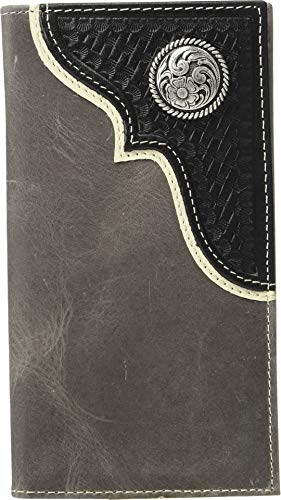 M&F Western Men's Nocona Corner Overlay w/Round Concho Rodeo Wallet Black One Size