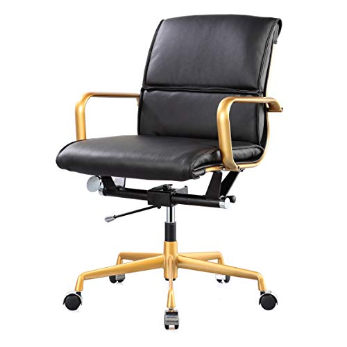 MEELANO 330-GD-BLK Office Chair, One Size, Gold Black