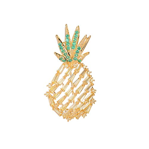 Romantic Time Pineapple Fruit Brooch Lapel Pin Shell Pearl Brooches Pins (Shell Yellow Brooch)