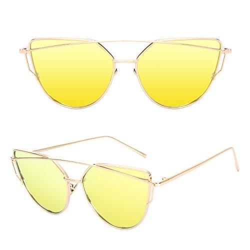 Soleil Et Modernes Or Chat Femmes Uv400 Cateye Polarisées Cgid Réfléchissantes A12 De Oeil Lunettes Fashion Mj74 Pour twxn8zqH