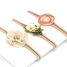 Baby Girl Nylon Headband / Floral Hair Band - Gentle Elastic Design Set of 3 (Khaki)