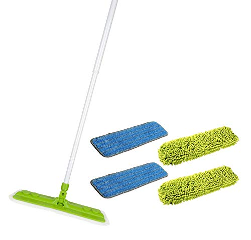 Starfiber Starmop Aquastar Microfiber Mop Kit Green Eco Friendly Cleaning 4 pads (2 pads of both types)