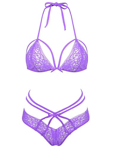 Amorbella Womens Sexy Strappy Halter Lace Lingerie 2 Piece Bra and Thong Set (Purple,Medim) ()