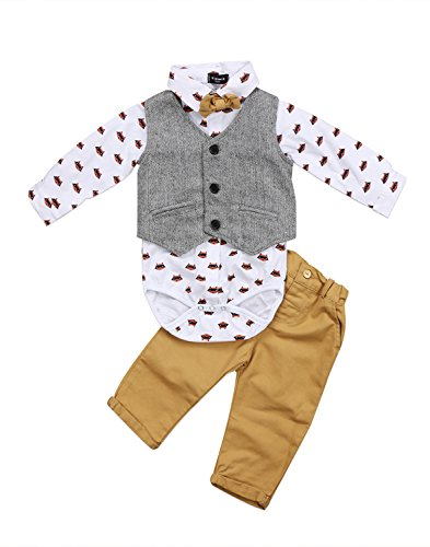 0-24M Toddler Baby Boys Gentleman 3 Pieces Bowtie Shirt+Jacket+ Jeans Pants Clothing Sets (6-12 Months, Khaki)