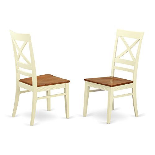 East West Furniture QUC-WHI-W Kitchen/Dining Chair Set with X-Back, Buttermilk/Cherry Finish, Set of 2