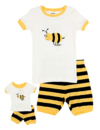 Leveret Shorts Matching Doll & Girl Bumble Bee 2 Piece Pajama Set 100% Cotton Size 3 Years